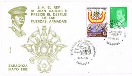 31086. Carta Exposicion ZARAGOZA 1982. Juan Carlos Desfile Fuerzas Armadas. General PALAFOX - 1931-Hoy: 2ª República - ... Juan Carlos I