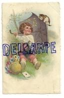 Enfant Assis Dans L'herbe. Parapluie (parasol ?) Chatons, Panier De Fleurs, Lettre - Illustrateurs & Photographes