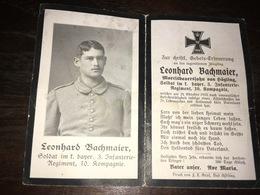 Sterbebild Wk1 Ww1 Bidprentje Avis Décès Deathcard IR3 29. Oktober 1915 Aus Högling - 1914-18
