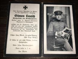 Sterbebild Wk1 Ww1 Bidprentje Avis Décès Deathcard RIR1 25. September 1914 Aus Grossholzhausen - 1914-18