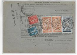 1927 - CARTE COLIS POSTAUX D'ALSACE LORRAINE De STRASBOURG => TOUL Avec TIMBRE FISCAL + SEMEUSE + MERSON - Spoorwegpost