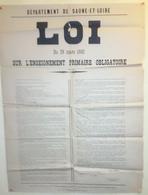 Enseignement Primaire- Loi Du 28 Mars 1882 - Saone Et Loire -Jules FERRY -  - Macon Typographie - 57 Cm X 77 Cm - Affiches