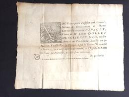 1779 Affiche Grand Placard De Décès Pour Pipault épouse Dollet De Solières écuyer Avocat Au Parlement Saint Gervais - Décès