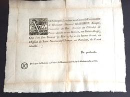 1789 Affiche Grand Placard De Décès Pour Maigret Ecuyer Conseiller Du Roi Notaire Au Chatelet Saint Nicolas Des Champs - Décès