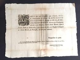 1782 Affiche Grand Placard De Décès Pour Guillomet épouse Honnet Avocat Au Parlement Cloitre Saint Benoit Giroust - Décès
