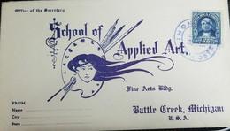 O) 1910 CIRCA-COSTA RICA, BRAULIO CARRILLO SCT 73 10c Blue, LIMON CACELLATION,  SCHOOL OF APPLIED ART -BATTLE CREEK MICH - Costa Rica
