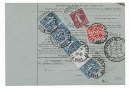 1927 - CARTE COLIS POSTAUX De NEUF BRISACH (HAUT-RHIN) Avec FISCAL + SEMEUSES => BELFORT - Marcofilie (Brieven)