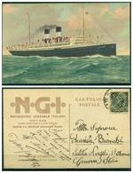 """CARTOLINA - CV233 NAVIGAZIONE 1922 Pubblicitaria Della Società Navigazione Generale Da """"Piroscafo Postale - Commercio"""