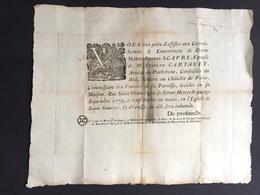 1779 Affiche Grand Placard De Décès Pour Scapre épouse Cartault Avocat Conseiller Du Roi Notaire Au Chatelet Darmagnac - Décès
