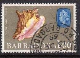 BARBADOS - 1966 $1 DEFINITIVE STAMP WMK W12 SIDEWAYS REF B USED SG 354 - Barbados (...-1966)