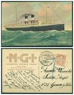 """CARTOLINA - CV234 NAVIGAZIONE 1921 Pubblicitaria Della Società Navigazione Generale Da """"Piroscafo Postale Ital - Commercio"""