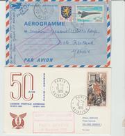 1970 - 50° Anniversaire PARIS / GENEVE / 2 LSC De Paris Aviation TB - Marcophilie (Lettres)