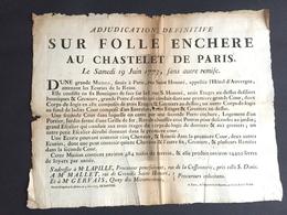 1773 Affiche Placard Vente Au Chastelet De Paris Rue Saint Honore L'hôtel D'auvergne Commerce  Lapille Procureur - Documents Historiques