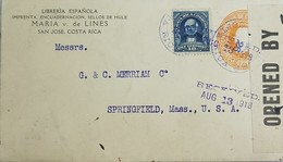 O) 1918 COSTA RICA, BRAULIO CARRILLO SCT 73 10c Blue, SAN JOSE CANCELLATION ON UPRATED, CENSORSHIP-OPENED BY,POSTAL STAT - Costa Rica