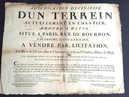 1777 Affiche Placard Vente D'un Terrain Rue De Bourbon Faubourg Saint Germain Paris Bains Du Sieur Poitevin - Documents Historiques