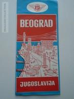 ZA147.12  Toursim Brochure - MAP  KSR  Railway - Jugoslovenske Zeljenice - Wagons-lits COOK Beograd  Ca 1960-70 - Cartes