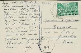 Cachet Hexagonal En Trait Pointillé D'Ordino (vallée D' Andorre ) Pour Granville - Marcophilie (Lettres)