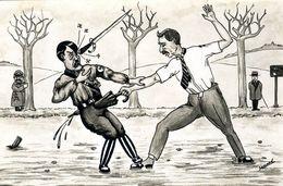Cpa Illustrateur Halopé Caricature Chamberlain Tuant Hitler Avec Un Parapluie Daladier Et Staline En Second Plan - War 1939-45