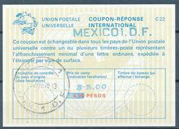 MEXICO / Mexique  - 1978 , Type La22  -   $ 5.00  Auf  6.00 PESOS   -  Reply Coupon Reponse , Antwortschein , IRC - Mexiko