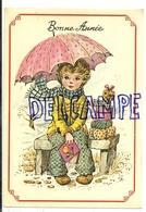 Bonne Année. PEtite Fille Sur Un Banc Dans La Neige. Parapluie, Livre, Cadeaux, ... - Nouvel An