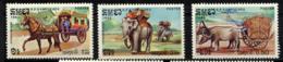 KAMPUCHEA 1985, Charrettes à Boeuf Et à Cheval, Transport Dos éléphant, 3 Valeurs, Neufs / Mint. R891 - Kampuchea