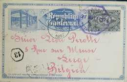 O) 1897 GUATEMALA, NATIONAL ARMS AND PRESIDENT J. M. REYNA BARRIOS 3c-UPRATED EXPO POSTAL CARD -H AND G 9 - TO BELGIUM, - Guatemala