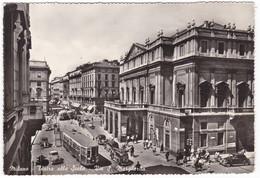 MILANO - TEATRO Alla SCALA  - TRAM  - Viaggiata  7 - 12 - 1963 - Tram