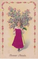 """Carte Gauffrée """"bonne Année"""" 1907  Enfant Avec Robe Brodée (lot Pat 33) - Bestickt"""