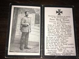 Sterbebild Wk1 Ww1 Bidprentje Avis Décès Deathcard RIR1 CARVIN Block 3 Grab 1448 Aus Siegensdorf - 1914-18