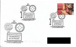 SPAIN. POSTMARK 70th ANNIV. PHILATELIC AND NUMISMATIC SOCIETY OF LAS PALMAS. 2018 - Marcofilia - EMA ( Maquina De Huellas A Franquear)