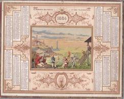 """Calendrier 1884 - ALMANACH DES POSTES ET TÉLÉGRAPHES - OBERTHUR """"Plaisirs D'été,Bains De Mer - Calendriers"""