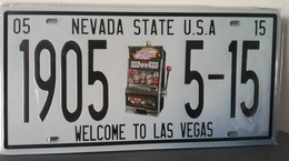 Rare Plaque Tôle WELCOME LAS VEGAS NEVADA USA Style EMAIL 15X31cm Vintage 1905 - Number Plates
