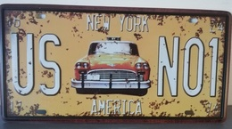 Rare Plaque Tôle NEW YORK USA TAXI YELLOW CAB N01 Style EMAIL 15X31cm Vintage - Plaques D'immatriculation