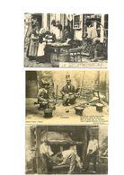 Carte Postale Petits Métiers Repro 3 Cartes Coutelier Ambulant-l'estamaire-le Ferrage De Boeufs 1,50 Euro Les 3cartes - Marchands Ambulants
