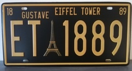 Rare Plaque Tôle PARIS TOUR EIFFEL 1889 Style EMAIL 15X31cm Vintage TOWER GUSTAVE - Plaques D'immatriculation