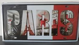Rare Plaque Tôle PARIS ARC TRIOMPHE TOUR EIFFEL Style EMAIL 15X31cm Vintage MOULIN ROUGE Trois Couleurs - Plaques D'immatriculation