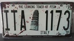 Rare Plaque Tôle ITALIE TOUR PISE Style EMAIL 15X31cm Vintage 1173 PISA TOWER - Plaques D'immatriculation