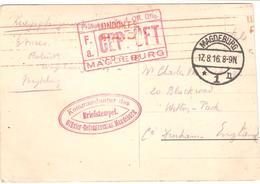 Magdeburg 17.8.16 - Geprüft - Kommandantur Des Officier-Gefangenenlager Magdeburg - Guerra 1914-18