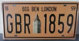 Rare Plaque Tôle LONDON LONDRES Style EMAIL 15X31cm Vintage BIG BEN GBR 1859 - Plaques D'immatriculation