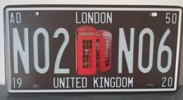 Rare Plaque Tôle LONDON LONDRES Style EMAIL 15X31cm Vintage N0206 UNITED KINGDOM - Plaques D'immatriculation