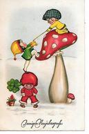 Children, Enfants, Kinder, Funghi, Champignon, Mushroom, Pilze, Klee, Clover, Trèfle, Dans La Neige, In Snow - Nouvel An