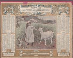 """Calendrier 1895 - ALMANACH DES POSTES ET TÉLÉGRAPHES ( Double)  OBERTHUR """" La Chèvre Blanche """" Tableau De PINCHART - Calendriers"""