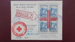 Carte Croix Rouge Abidjan Cote D'Ivoire Juillet 1945 Tirage 2000 Exemplaires - Ivory Coast (1892-1944)