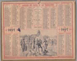 """Calendrier 1897 - ALMANACH DES POSTES ET TÉLÉGRAPHES - OBERTHUR """" La Distribution """" Par Eugène CHAPERON - Calendriers"""