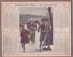"""Calendrier 1903 - ALMANACH DES POSTES ET TÉLÉGRAPHES -  OBERTHUR """" Patinage à VILLE - D' AVRAY """" - Calendriers"""