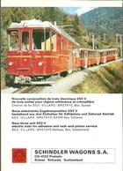"""2161 """"  TRENO A CREMAGLIERA 650 V:-FERROVIA BEX/VILLARS/BRETAYE - BEX - SUISSE """" SCHEDA TECNICA - Ferrovie"""