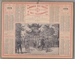 """Calendrier 1904 - ALMANACH DES POSTES ET TÉLÉGRAPHES - OBERTHUR """"Pavillon CHINOIS Au Bois De Boulogne"""" Tricycle,Vélo - Calendriers"""