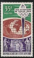 Ivory Coast 1964 Scott 215 MNH Olympic Games Tokyo, Map - Costa D'Avorio (1960-...)