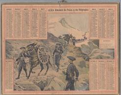 """Calendrier 1908 - ALMANACH DES POSTES ET TÉLÉGRAPHES - OBERTHUR """"Artillerie De Montagne"""" Chasseurs Alpins - Calendriers"""
