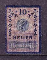 Steuermarke, Kaiser Franz Joseph, 10 Heller, 1910 (68507) - Gebührenstempel, Impoststempel